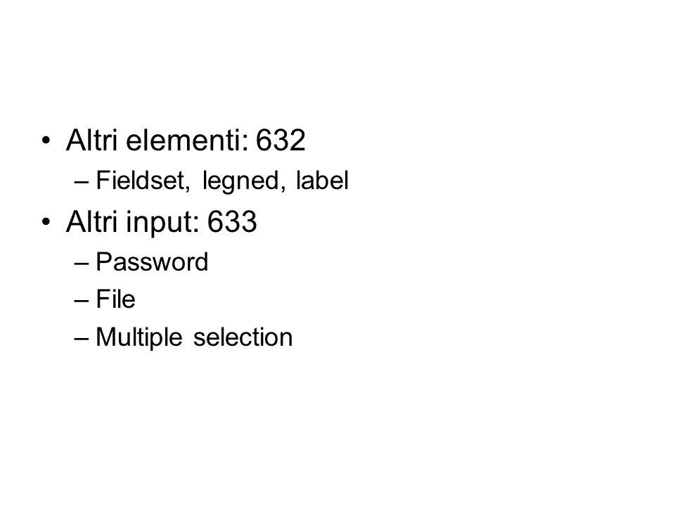 Altri elementi: 632 –Fieldset, legned, label Altri input: 633 –Password –File –Multiple selection