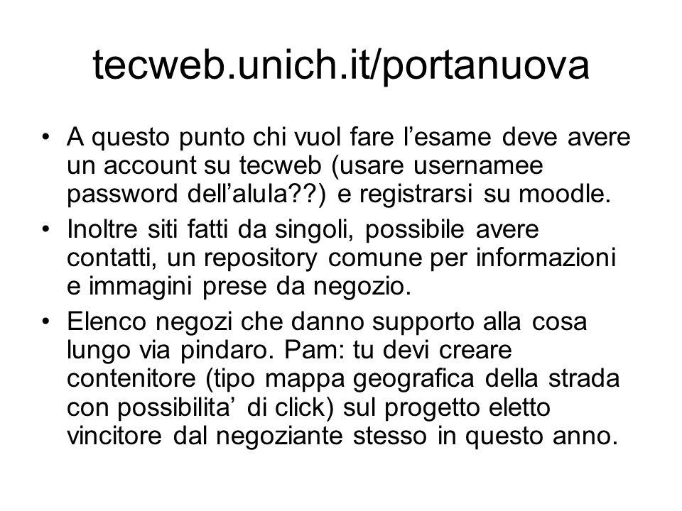 tecweb.unich.it/portanuova A questo punto chi vuol fare l'esame deve avere un account su tecweb (usare usernamee password dell'alula??) e registrarsi