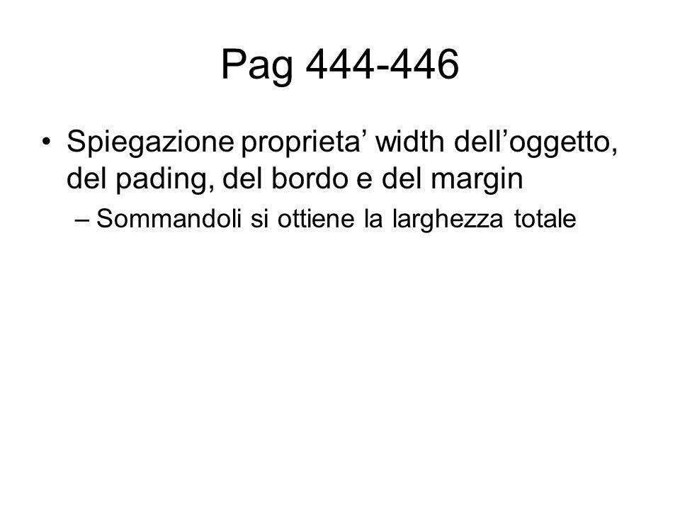 Pag 444-446 Spiegazione proprieta' width dell'oggetto, del pading, del bordo e del margin –Sommandoli si ottiene la larghezza totale