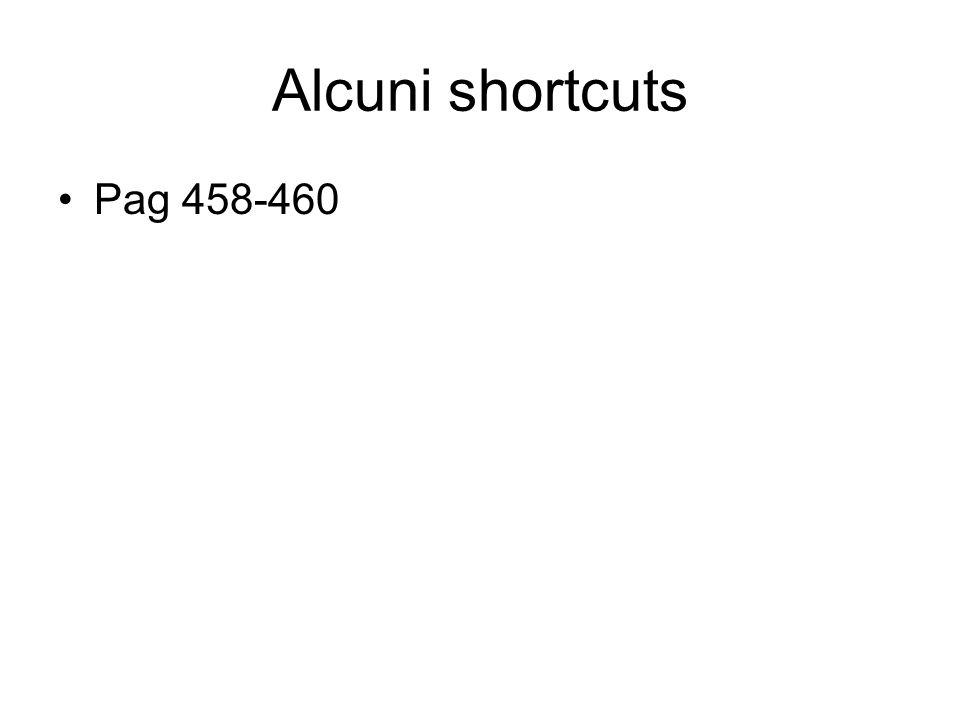 Alcuni shortcuts Pag 458-460