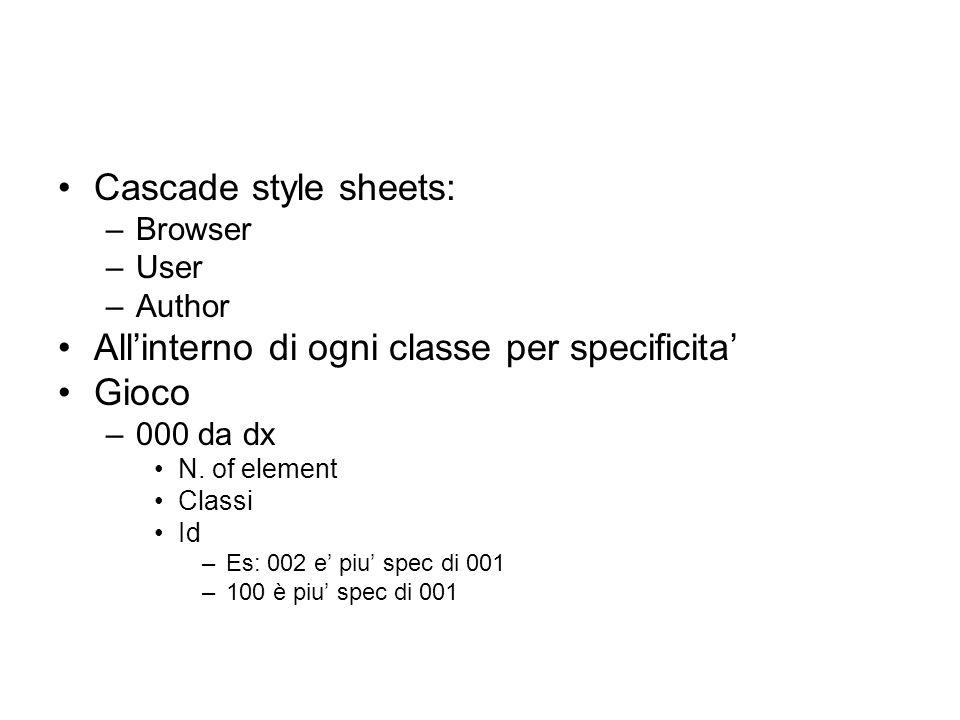 Cascade style sheets: –Browser –User –Author All'interno di ogni classe per specificita' Gioco –000 da dx N. of element Classi Id –Es: 002 e' piu' spe