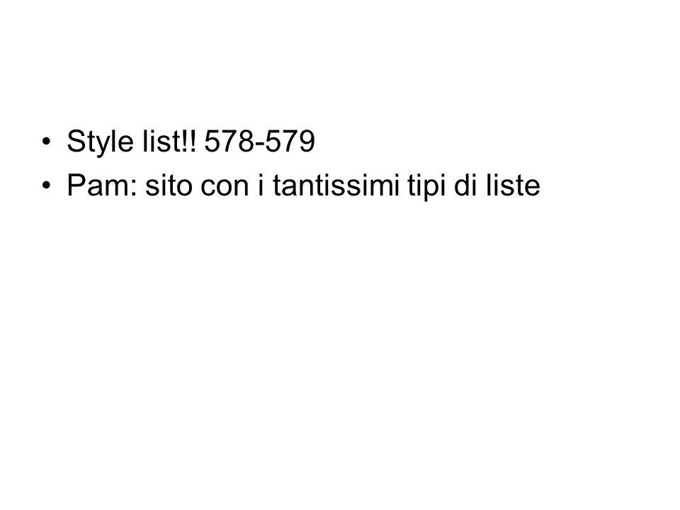 Style list!! 578-579 Pam: sito con i tantissimi tipi di liste