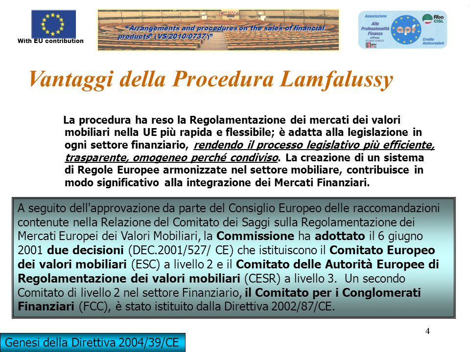 "With EU contribution ""Arrangements and procedures on the sales of financial products"" (VS/2010/0737)"" ""Arrangements and procedures on the sales of fin"