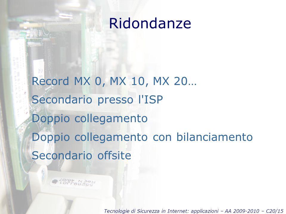 Tecnologie di Sicurezza in Internet: applicazioni – AA 2009-2010 – C20/15 Ridondanze Record MX 0, MX 10, MX 20… Secondario presso l ISP Doppio collegamento Doppio collegamento con bilanciamento Secondario offsite