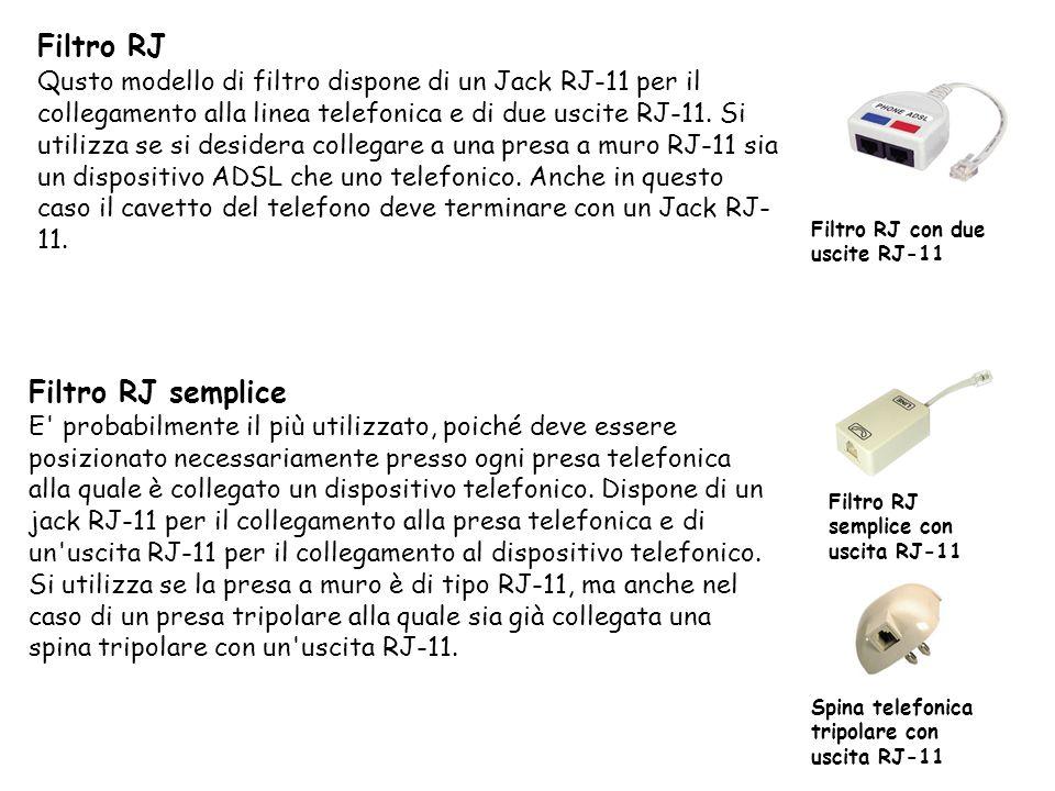 Filtro RJ Qusto modello di filtro dispone di un Jack RJ-11 per il collegamento alla linea telefonica e di due uscite RJ-11.