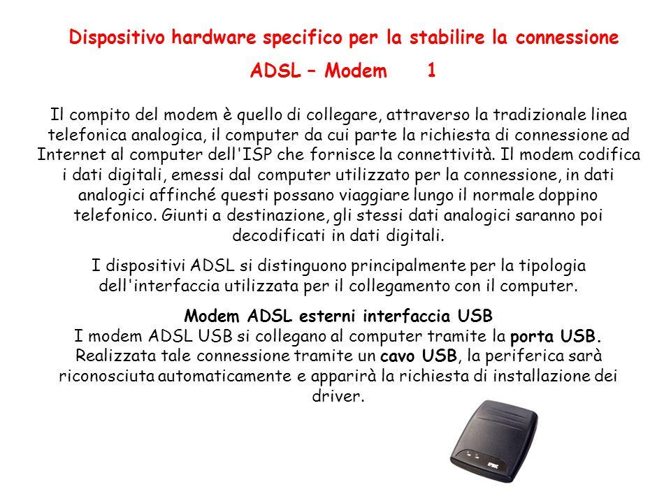 Dispositivo hardware specifico per la stabilire la connessione ADSL – Modem 1 Il compito del modem è quello di collegare, attraverso la tradizionale linea telefonica analogica, il computer da cui parte la richiesta di connessione ad Internet al computer dell ISP che fornisce la connettività.