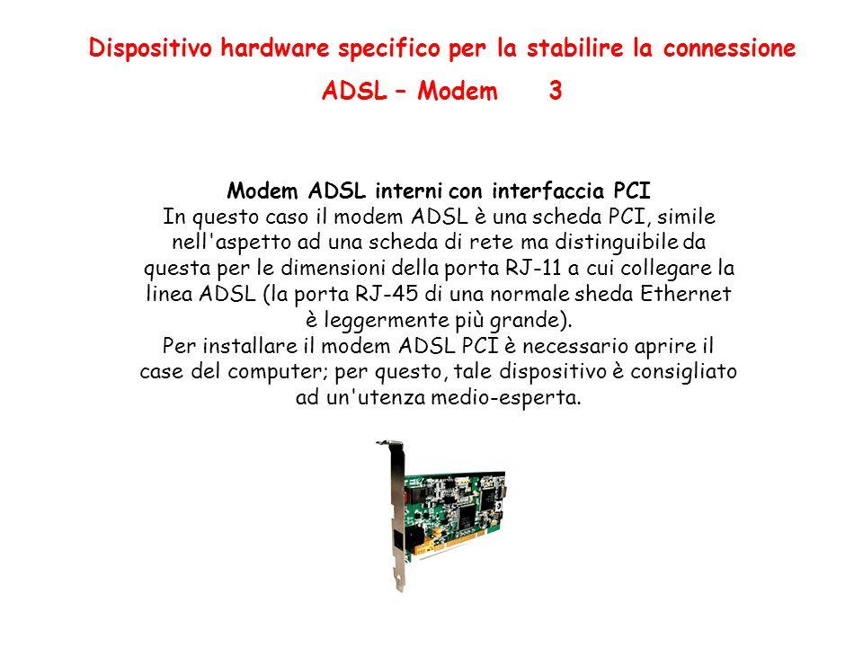 Dispositivo hardware specifico per la stabilire la connessione ADSL – Modem 3 Modem ADSL interni con interfaccia PCI In questo caso il modem ADSL è una scheda PCI, simile nell aspetto ad una scheda di rete ma distinguibile da questa per le dimensioni della porta RJ-11 a cui collegare la linea ADSL (la porta RJ-45 di una normale sheda Ethernet è leggermente più grande).