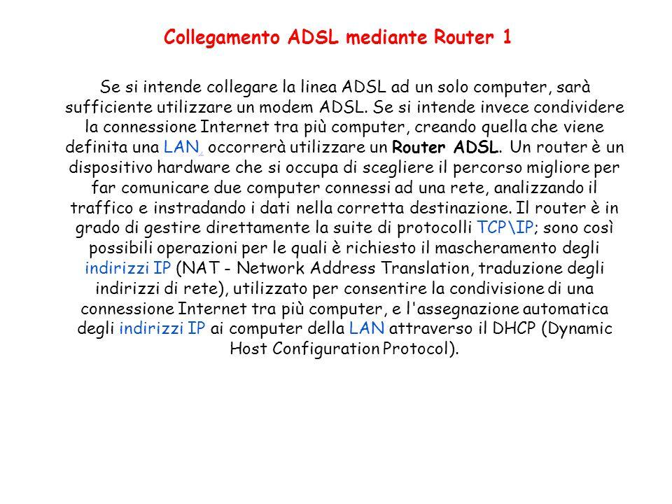 Collegamento ADSL mediante Router 1 Se si intende collegare la linea ADSL ad un solo computer, sarà sufficiente utilizzare un modem ADSL. Se si intend