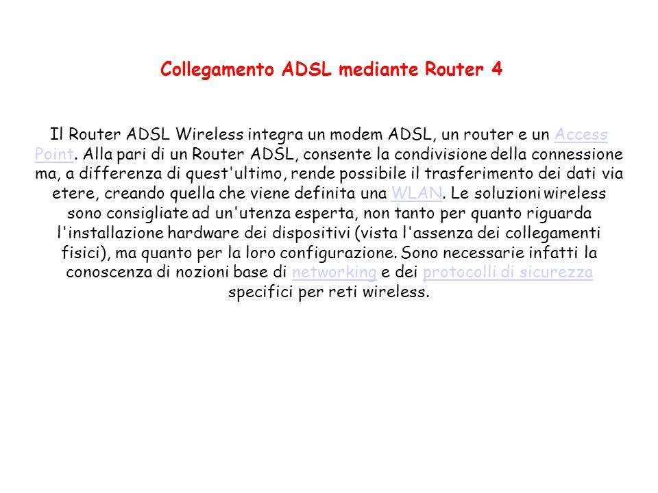 Collegamento ADSL mediante Router 4 Il Router ADSL Wireless integra un modem ADSL, un router e un Access Point. Alla pari di un Router ADSL, consente