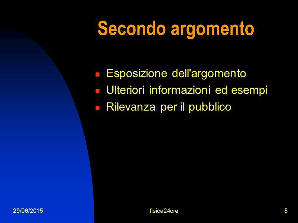 29/06/2015fisica24ore5 Secondo argomento Esposizione dell argomento Ulteriori informazioni ed esempi Rilevanza per il pubblico
