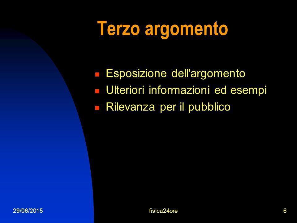 29/06/2015fisica24ore6 Terzo argomento Esposizione dell argomento Ulteriori informazioni ed esempi Rilevanza per il pubblico