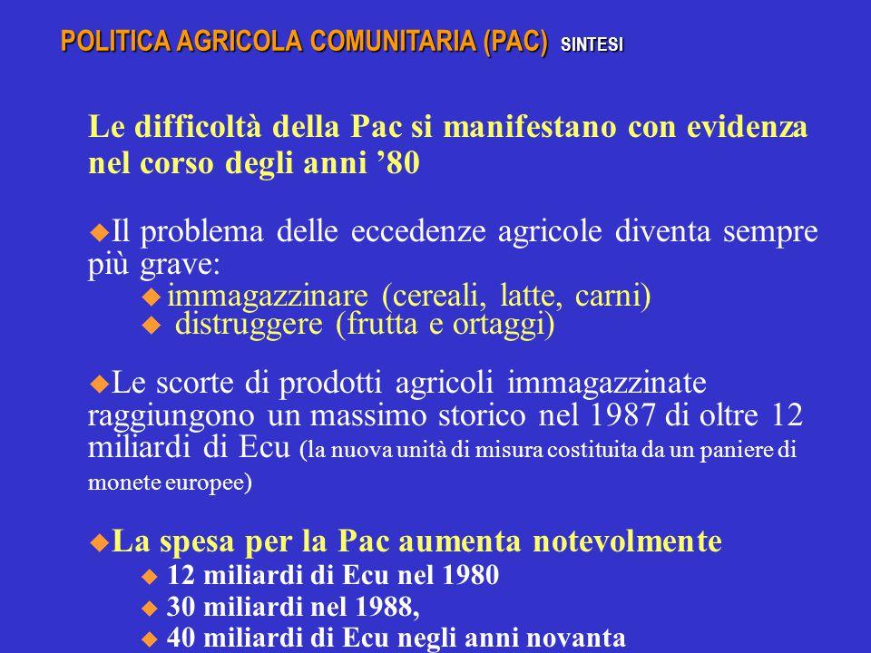 Le difficoltà della Pac si manifestano con evidenza nel corso degli anni '80  Il problema delle eccedenze agricole diventa sempre più grave: u immagazzinare (cereali, latte, carni) u distruggere (frutta e ortaggi)  Le scorte di prodotti agricoli immagazzinate raggiungono un massimo storico nel 1987 di oltre 12 miliardi di Ecu (la nuova unità di misura costituita da un paniere di monete europee)  La spesa per la Pac aumenta notevolmente u 12 miliardi di Ecu nel 1980 u 30 miliardi nel 1988, u 40 miliardi di Ecu negli anni novanta u 44 miliardi di EURO nel 2002 POLITICA AGRICOLA COMUNITARIA (PAC) SINTESI