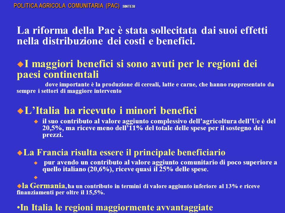 La riforma della Pac è stata sollecitata dai suoi effetti nella distribuzione dei costi e benefici.