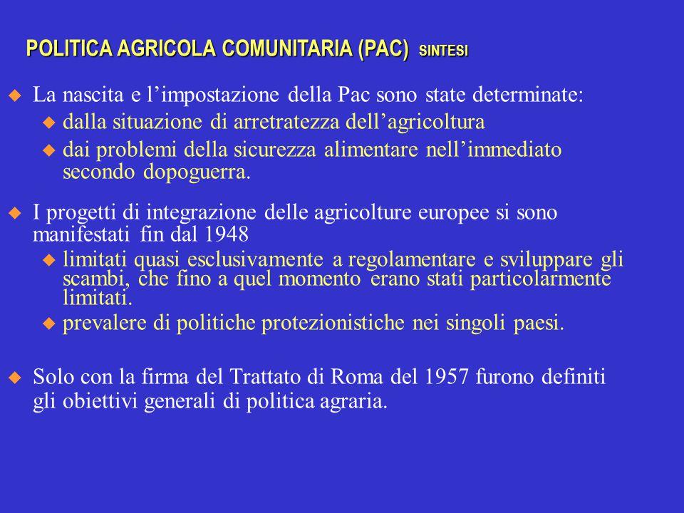  La nascita e l'impostazione della Pac sono state determinate: u dalla situazione di arretratezza dell'agricoltura u dai problemi della sicurezza alimentare nell'immediato secondo dopoguerra.