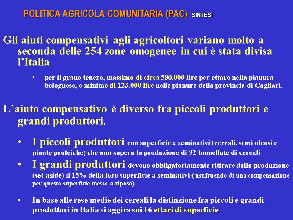 Gli aiuti compensativi agli agricoltori variano molto a seconda delle 254 zone omogenee in cui è stata divisa l'Italia per il grano tenero, massimo di circa 580.000 lire per ettaro nella pianura bolognese, e minimo di 123.000 lire nelle pianure della provincia di Cagliari.