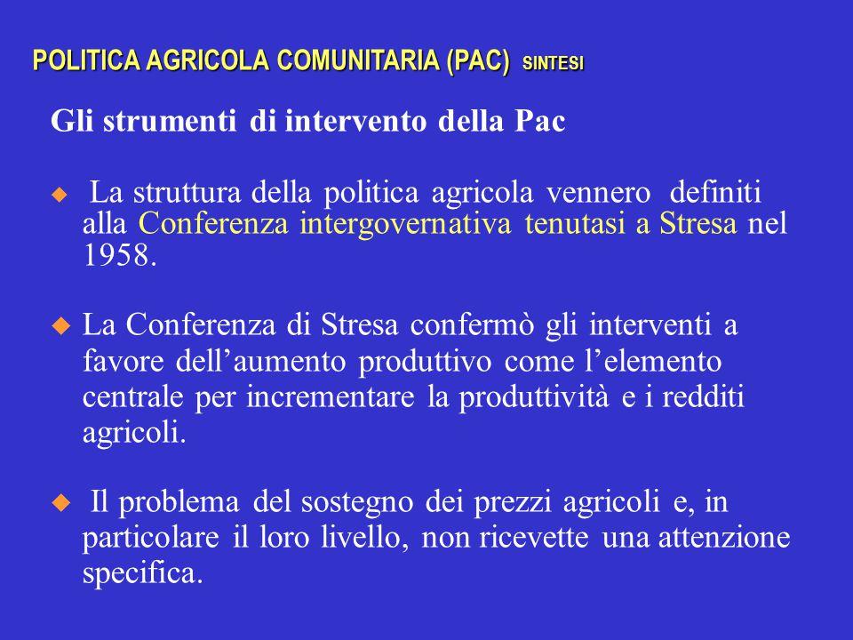 Gli strumenti di intervento della Pac  La struttura della politica agricola vennero definiti alla Conferenza intergovernativa tenutasi a Stresa nel 1958.