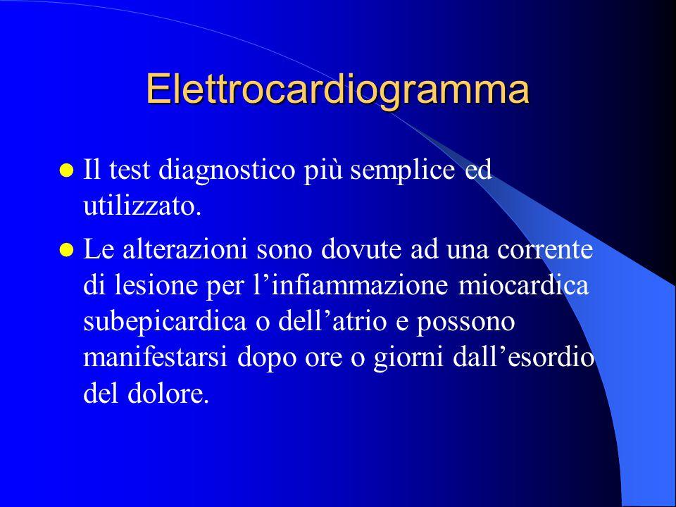 Elettrocardiogramma Il test diagnostico più semplice ed utilizzato. Le alterazioni sono dovute ad una corrente di lesione per l'infiammazione miocardi