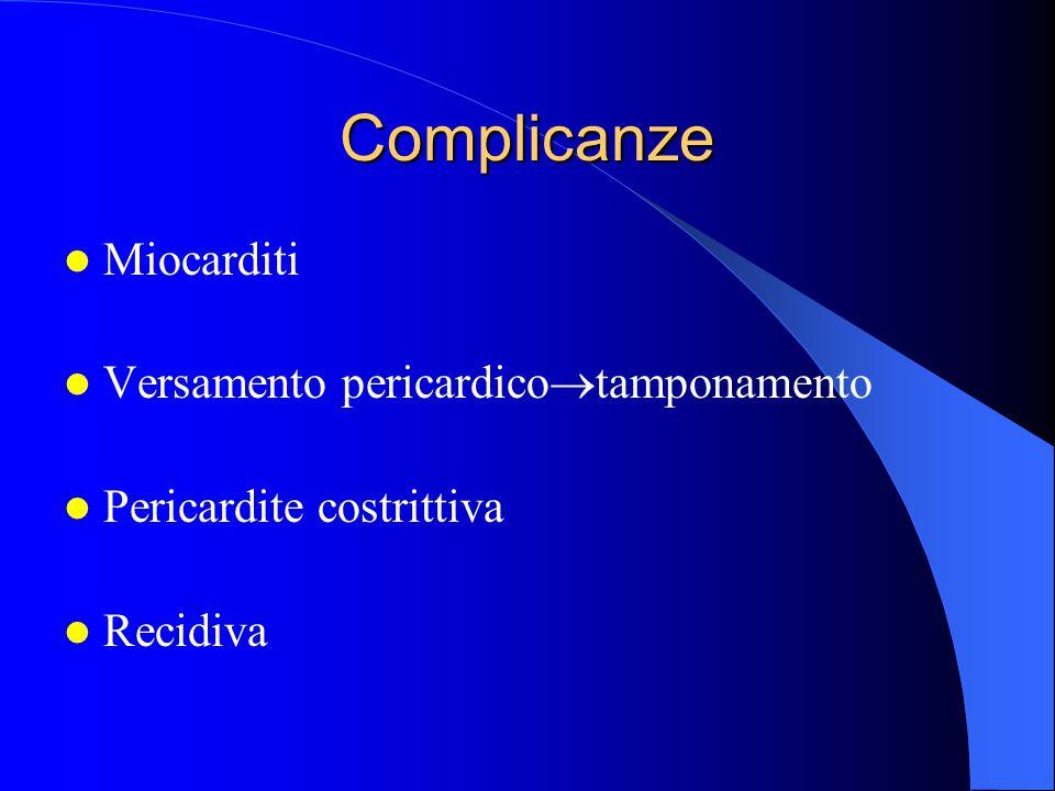 Complicanze Miocarditi Versamento pericardico  tamponamento Pericardite costrittiva Recidiva