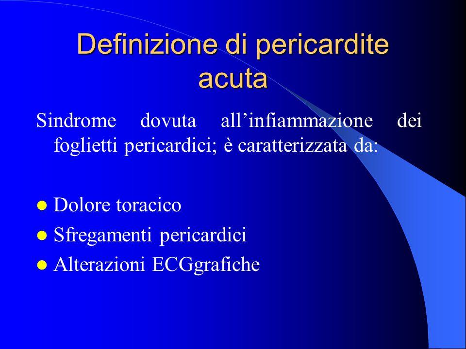 Epidemiologia Mancano dati certi di prevalenza ed incidenza delle pericarditi nella popolazione generale.