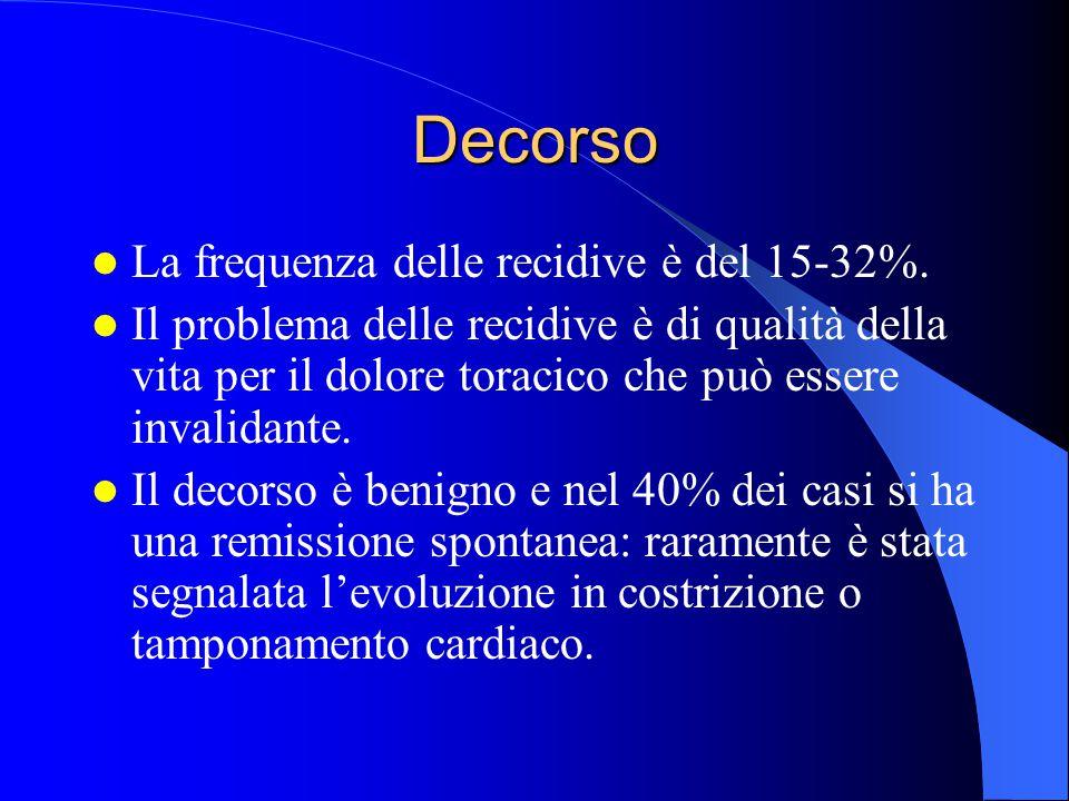 Decorso La frequenza delle recidive è del 15-32%. Il problema delle recidive è di qualità della vita per il dolore toracico che può essere invalidante