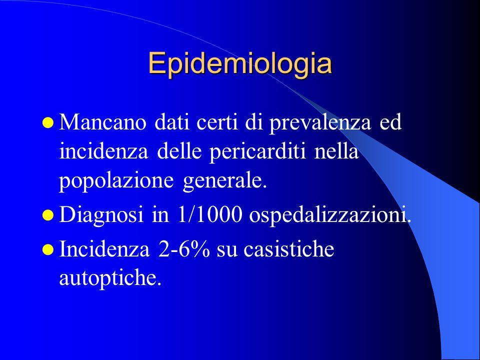 Epidemiologia Mancano dati certi di prevalenza ed incidenza delle pericarditi nella popolazione generale. Diagnosi in 1/1000 ospedalizzazioni. Inciden