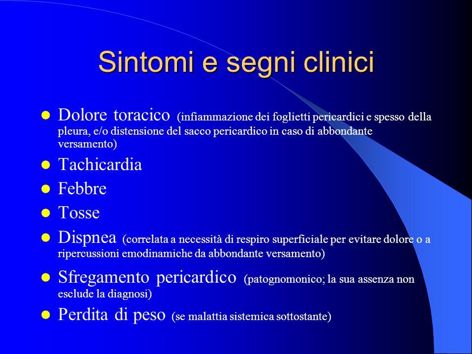 Sintomi e segni clinici Dolore toracico (infiammazione dei foglietti pericardici e spesso della pleura, e/o distensione del sacco pericardico in caso