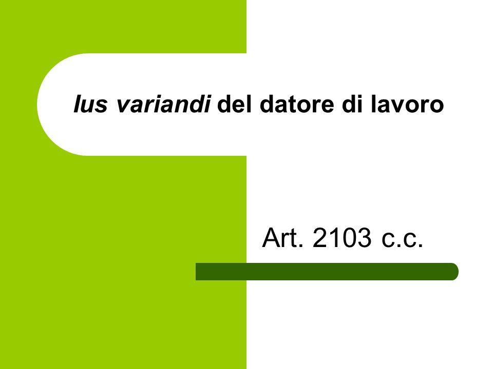 Ius variandi del datore di lavoro Art. 2103 c.c.