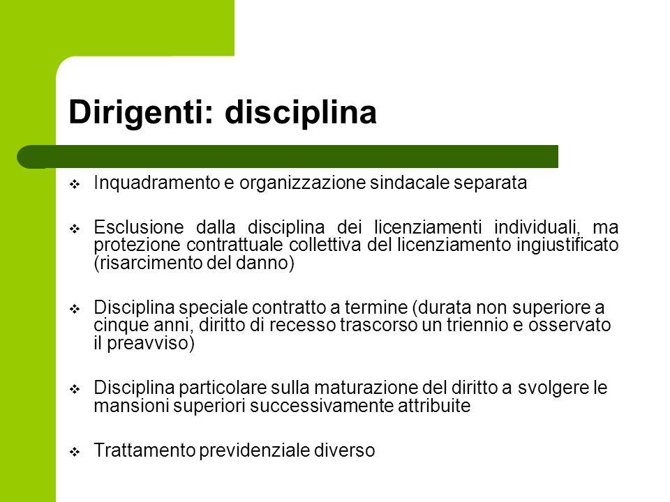 Dirigenti: disciplina  Inquadramento e organizzazione sindacale separata  Esclusione dalla disciplina dei licenziamenti individuali, ma protezione c