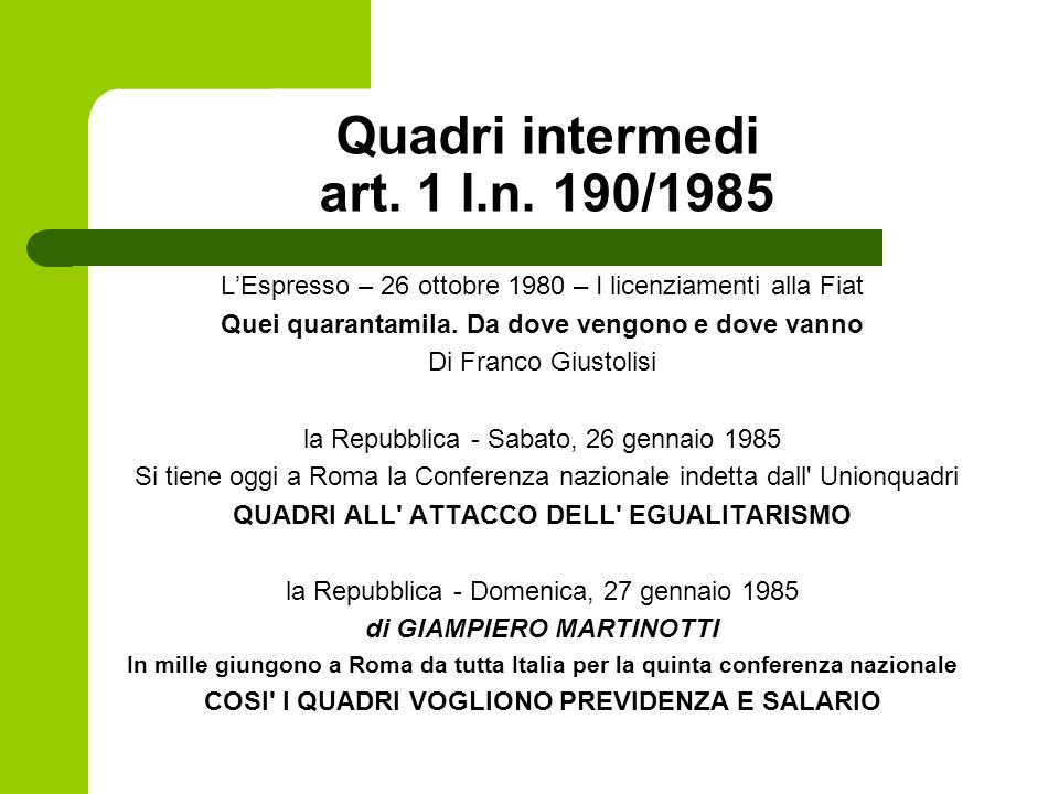 Quadri intermedi art.1 l.n.