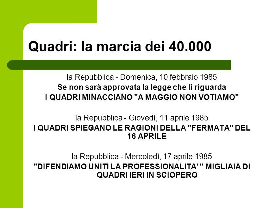 Quadri: la marcia dei 40.000 la Repubblica - Domenica, 10 febbraio 1985 Se non sarà approvata la legge che li riguarda I QUADRI MINACCIANO