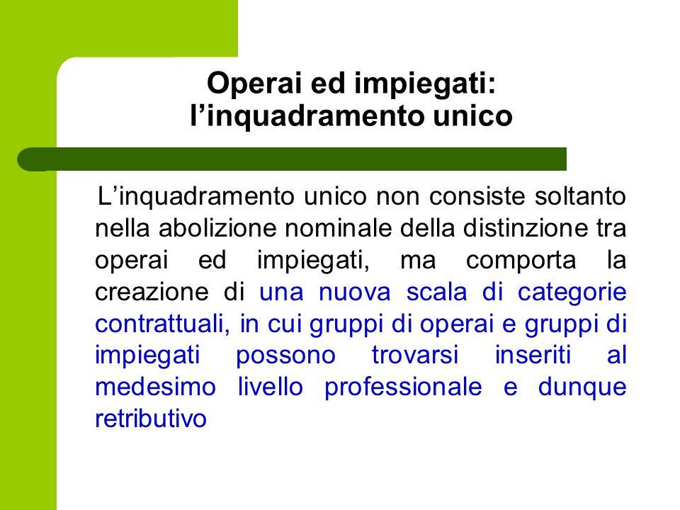 Operai ed impiegati: l'inquadramento unico L'inquadramento unico non consiste soltanto nella abolizione nominale della distinzione tra operai ed impie