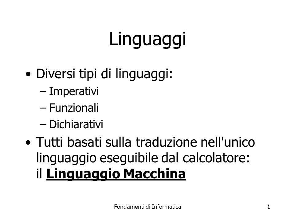 Fondamenti di Informatica1 Linguaggi Diversi tipi di linguaggi: –Imperativi –Funzionali –Dichiarativi Tutti basati sulla traduzione nell unico linguaggio eseguibile dal calcolatore: il Linguaggio Macchina