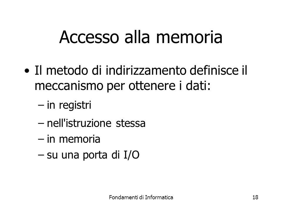 Fondamenti di Informatica18 Accesso alla memoria Il metodo di indirizzamento definisce il meccanismo per ottenere i dati: –in registri –nell istruzione stessa –in memoria –su una porta di I/O