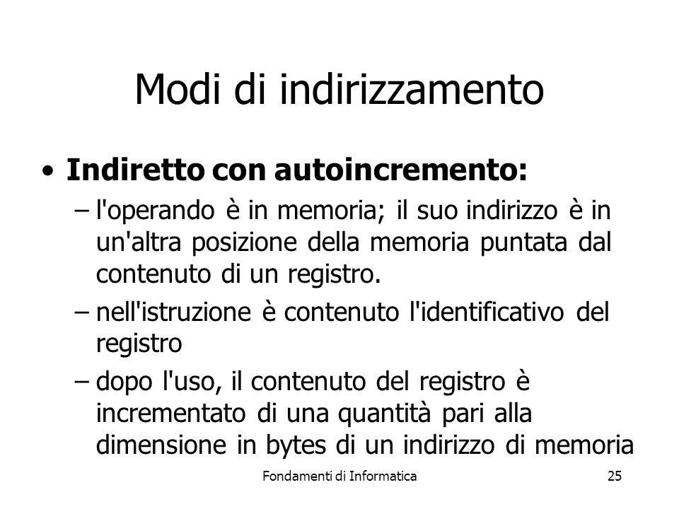 Fondamenti di Informatica25 Modi di indirizzamento Indiretto con autoincremento: –l operando è in memoria; il suo indirizzo è in un altra posizione della memoria puntata dal contenuto di un registro.
