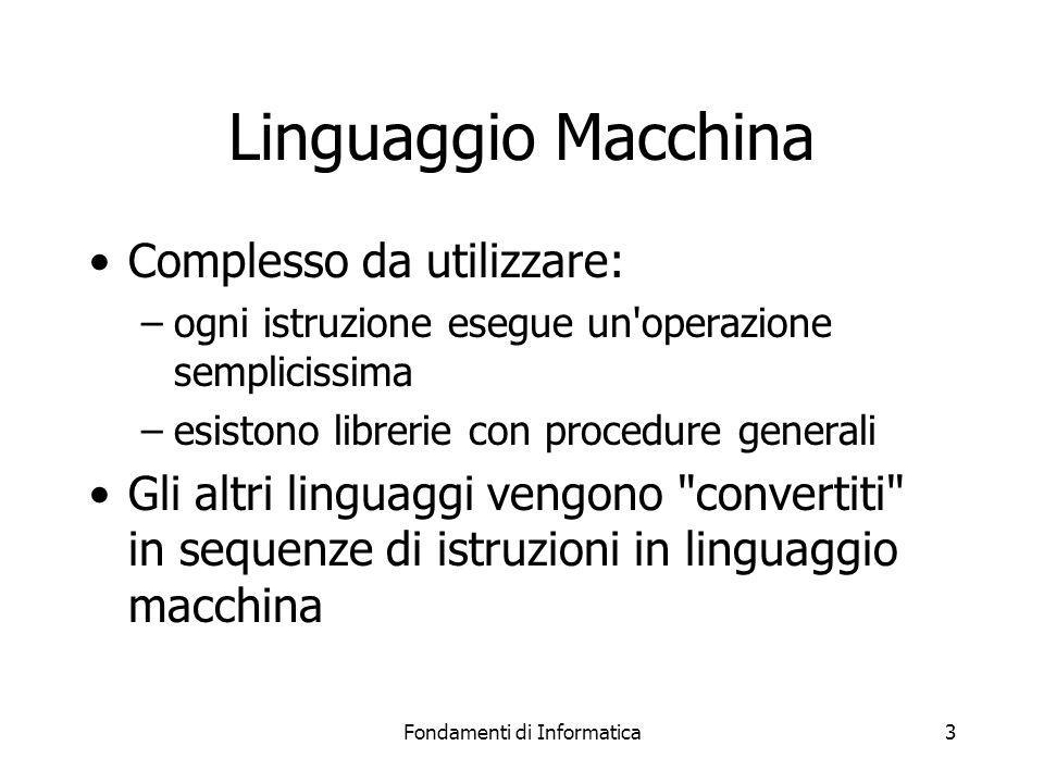 Fondamenti di Informatica3 Linguaggio Macchina Complesso da utilizzare: –ogni istruzione esegue un operazione semplicissima –esistono librerie con procedure generali Gli altri linguaggi vengono convertiti in sequenze di istruzioni in linguaggio macchina