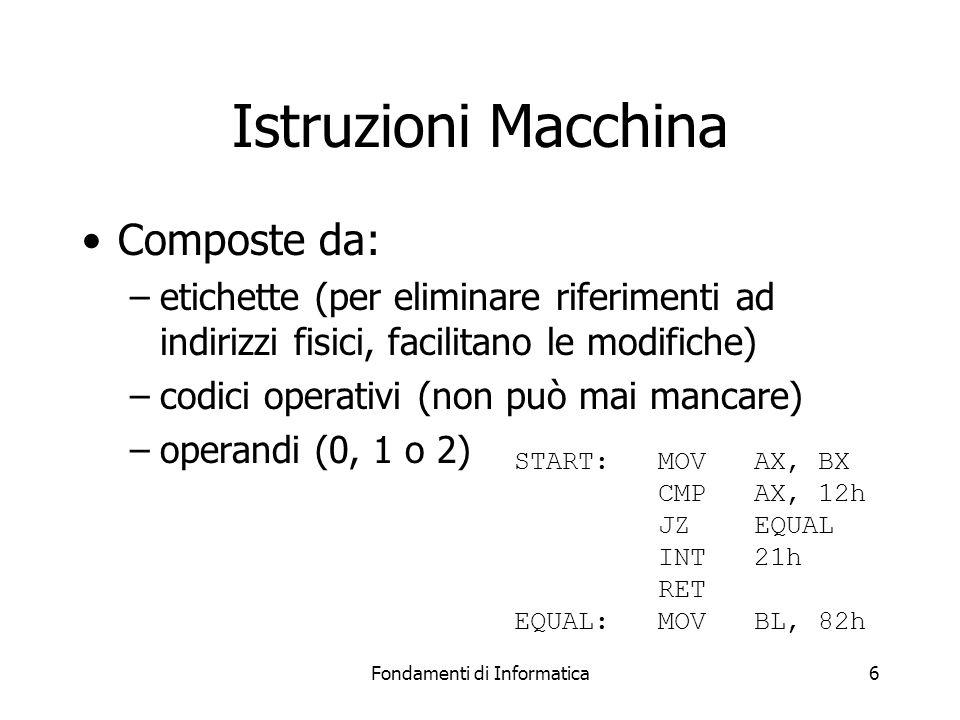 Fondamenti di Informatica6 Istruzioni Macchina Composte da: –etichette (per eliminare riferimenti ad indirizzi fisici, facilitano le modifiche) –codici operativi (non può mai mancare) –operandi (0, 1 o 2) START:MOV AX, BX CMPAX, 12h JZEQUAL INT21h RET EQUAL:MOVBL, 82h