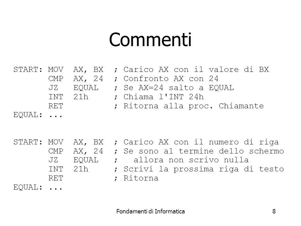 Fondamenti di Informatica8 Commenti START: MOVAX, BX ; Carico AX con il valore di BX CMPAX, 24 ; Confronto AX con 24 JZ EQUAL ; Se AX=24 salto a EQUAL INT 21h ; Chiama l INT 24h RET ; Ritorna alla proc.