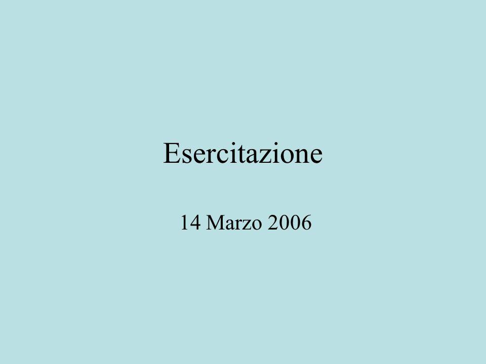 Esercitazione 14 Marzo 2006
