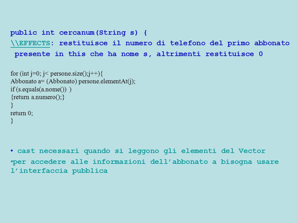 public int cercanum(String s) { \\EFFECTS\\EFFECTS: restituisce il numero di telefono del primo abbonato presente in this che ha nome s, altrimenti re