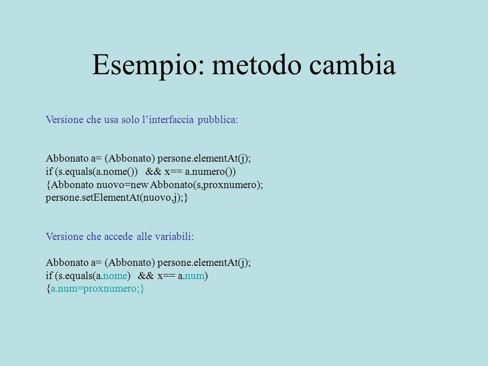 Esempio: metodo cambia Versione che usa solo l'interfaccia pubblica: Abbonato a= (Abbonato) persone.elementAt(j); if (s.equals(a.nome()) && x== a.nume