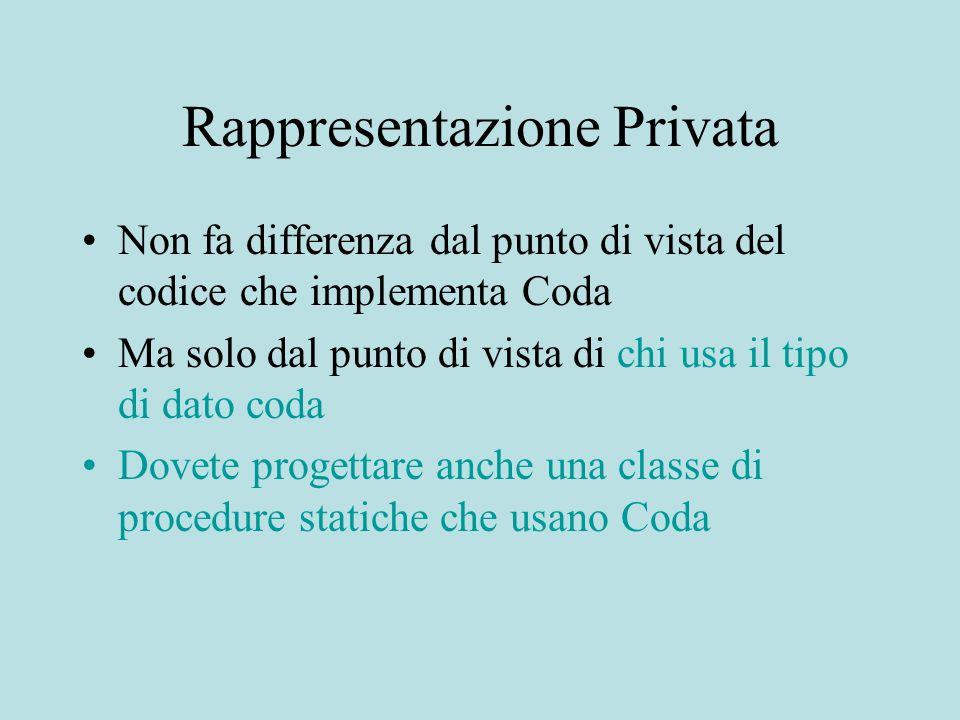Rappresentazione Privata Non fa differenza dal punto di vista del codice che implementa Coda Ma solo dal punto di vista di chi usa il tipo di dato cod