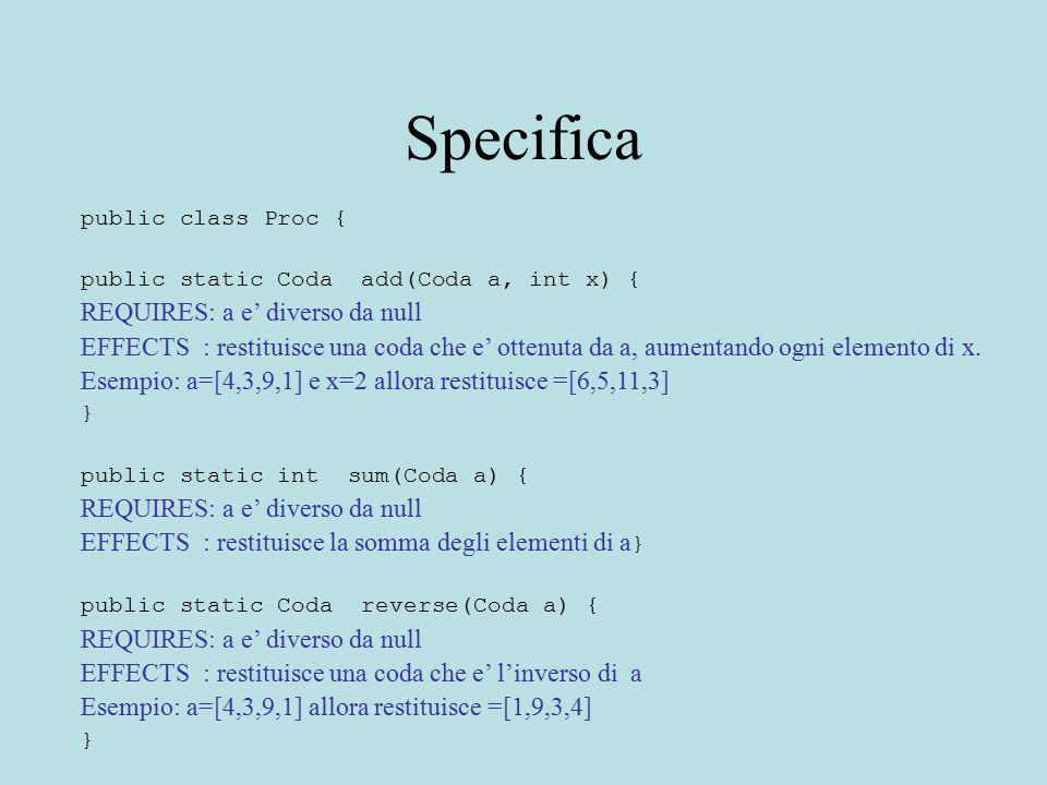 Specifica public class Proc { public static Coda add(Coda a, int x) { REQUIRES: a e' diverso da null EFFECTS : restituisce una coda che e' ottenuta da