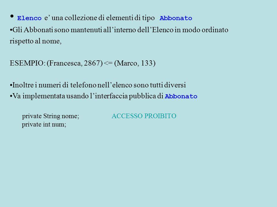 Elenco e' una collezione di elementi di tipo Abbonato Gli Abbonati sono mantenuti all'interno dell'Elenco in modo ordinato rispetto al nome, ESEMPIO: