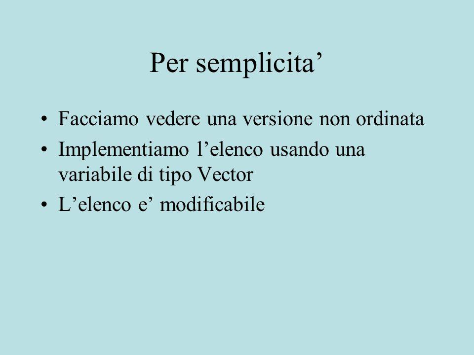 Per semplicita' Facciamo vedere una versione non ordinata Implementiamo l'elenco usando una variabile di tipo Vector L'elenco e' modificabile