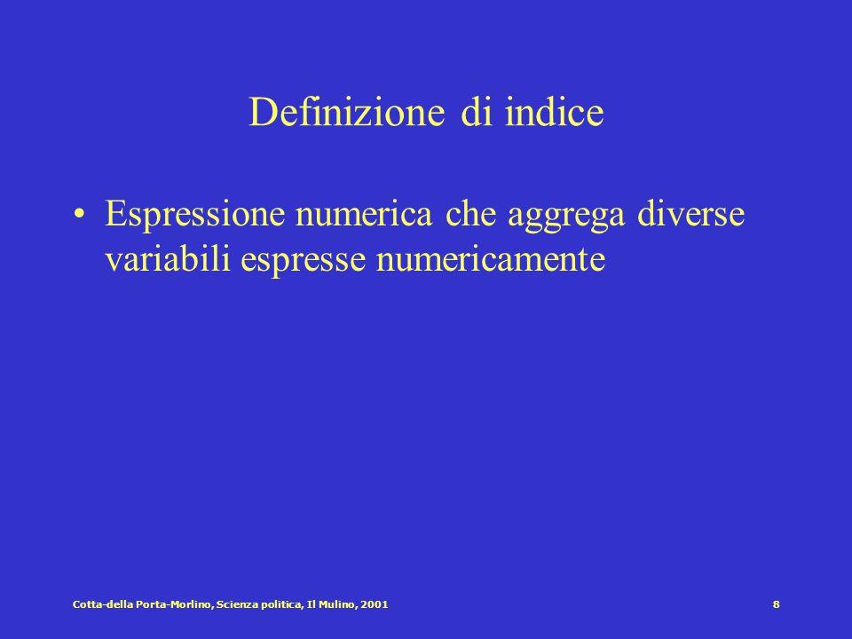 Cotta-della Porta-Morlino, Scienza politica, Il Mulino, 20018 Definizione di indice Espressione numerica che aggrega diverse variabili espresse numericamente