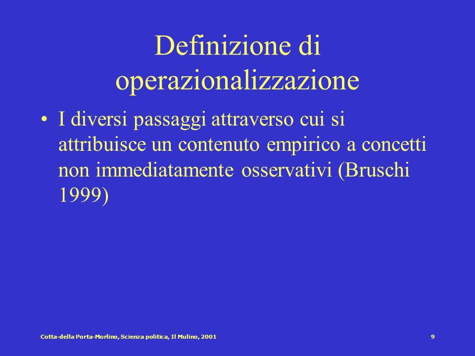 Cotta-della Porta-Morlino, Scienza politica, Il Mulino, 20019 Definizione di operazionalizzazione I diversi passaggi attraverso cui si attribuisce un contenuto empirico a concetti non immediatamente osservativi (Bruschi 1999)