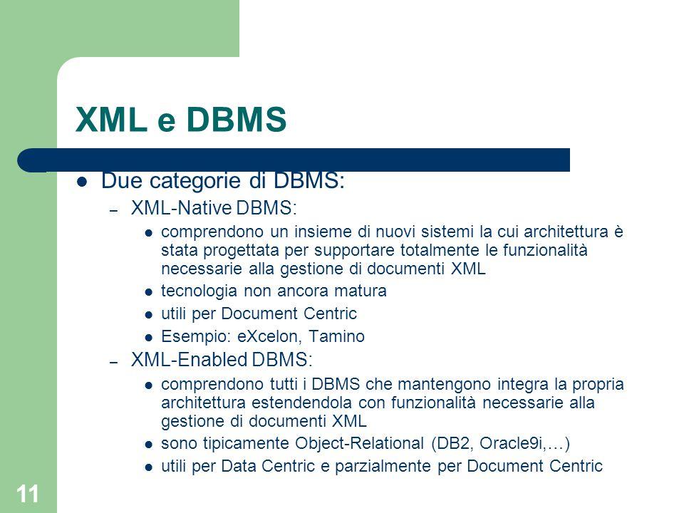 11 XML e DBMS Due categorie di DBMS: – XML-Native DBMS: comprendono un insieme di nuovi sistemi la cui architettura è stata progettata per supportare totalmente le funzionalità necessarie alla gestione di documenti XML tecnologia non ancora matura utili per Document Centric Esempio: eXcelon, Tamino – XML-Enabled DBMS: comprendono tutti i DBMS che mantengono integra la propria architettura estendendola con funzionalità necessarie alla gestione di documenti XML sono tipicamente Object-Relational (DB2, Oracle9i,…) utili per Data Centric e parzialmente per Document Centric
