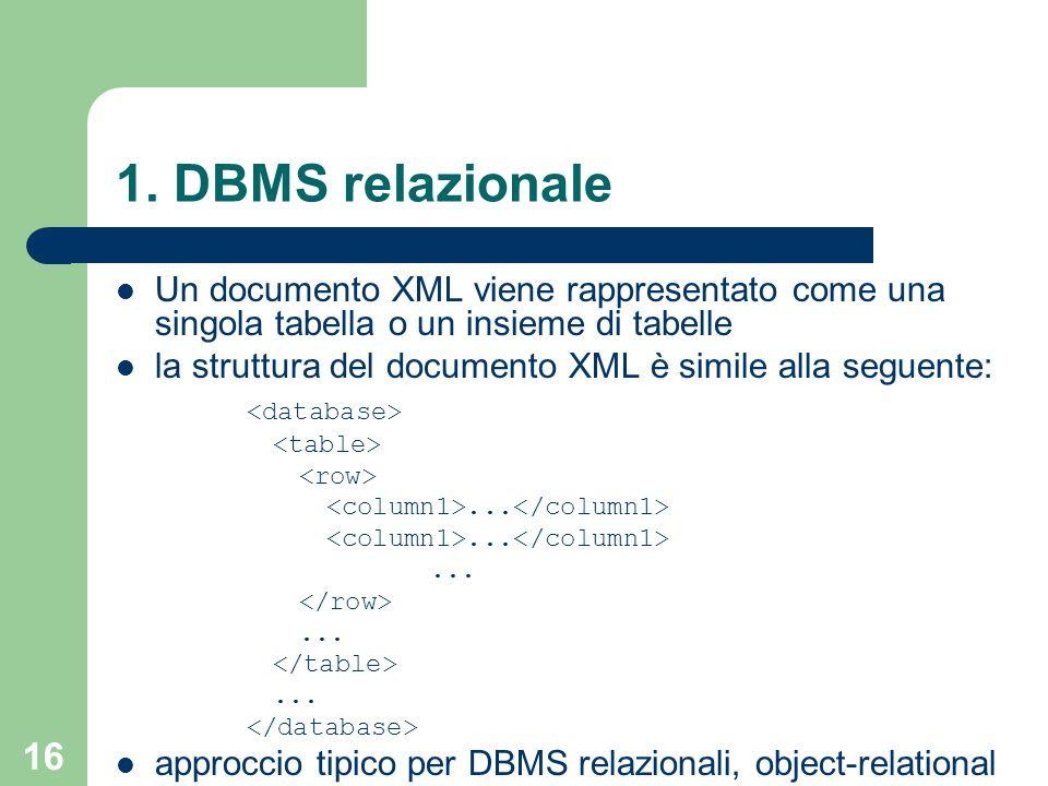 16 1. DBMS relazionale Un documento XML viene rappresentato come una singola tabella o un insieme di tabelle la struttura del documento XML è simile a