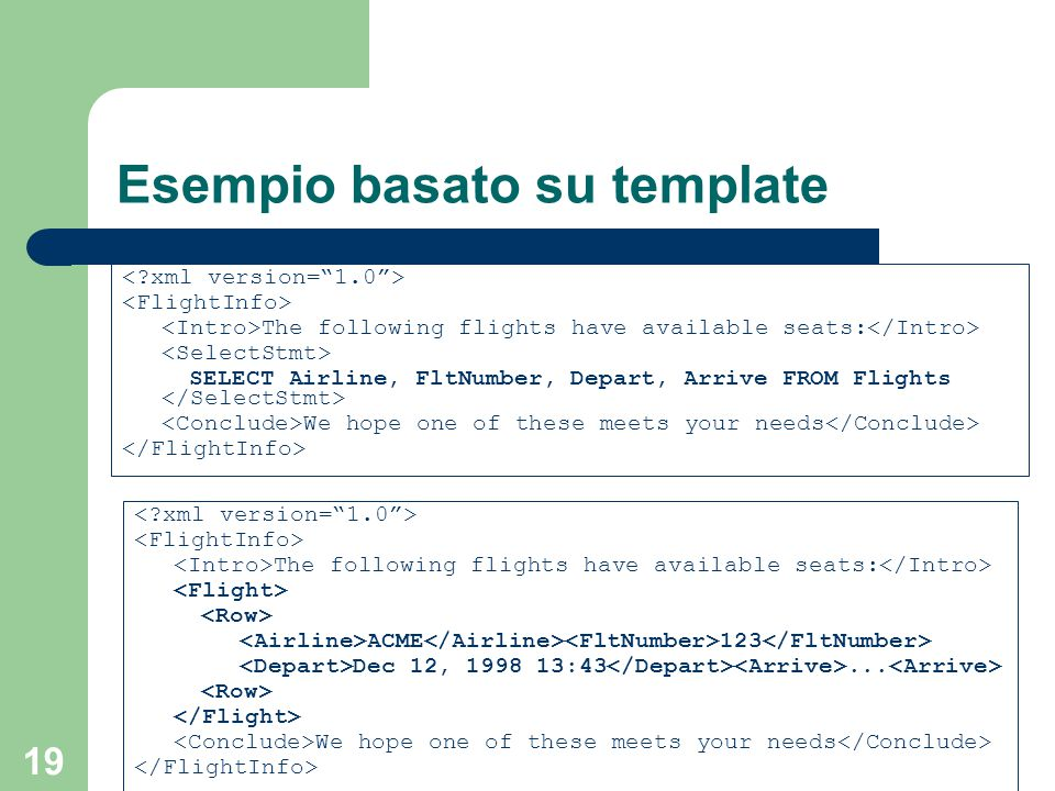 19 Esempio basato su template The following flights have available seats: SELECT Airline, FltNumber, Depart, Arrive FROM Flights We hope one of these meets your needs The following flights have available seats: ACME 123 Dec 12, 1998 13:43...