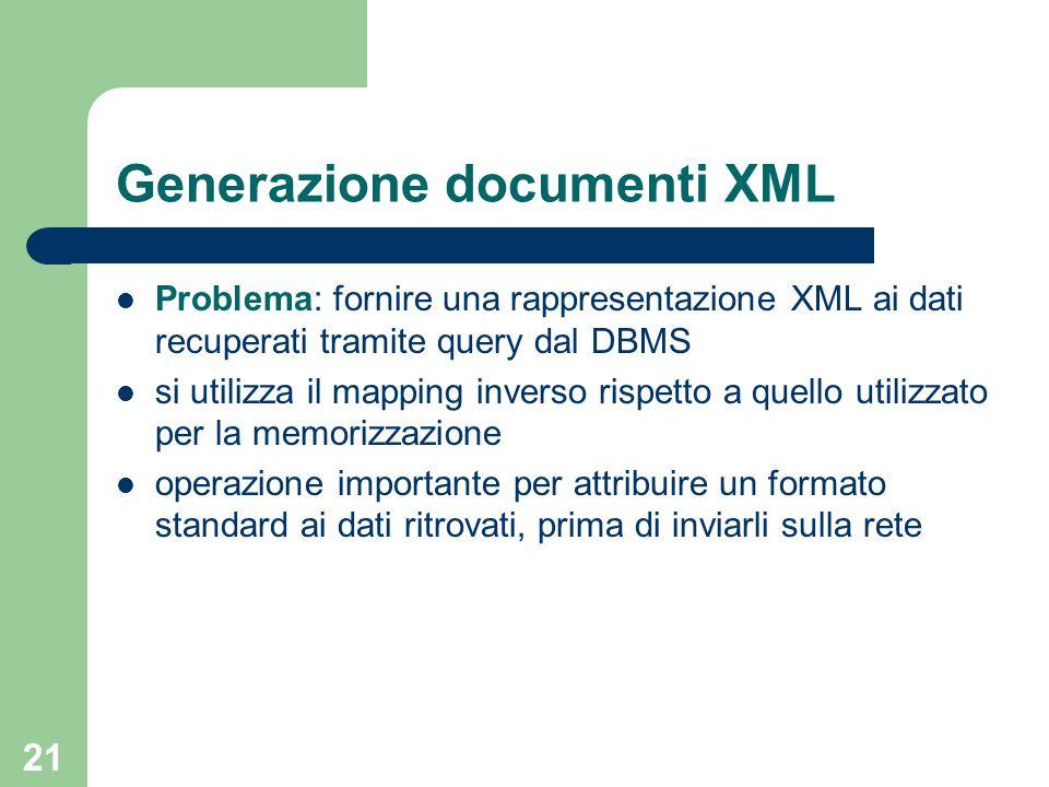 21 Generazione documenti XML Problema: fornire una rappresentazione XML ai dati recuperati tramite query dal DBMS si utilizza il mapping inverso rispetto a quello utilizzato per la memorizzazione operazione importante per attribuire un formato standard ai dati ritrovati, prima di inviarli sulla rete